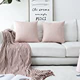 Home Brilliant - Funda de cojín de Lino Supersuave, Tela, Rosa Pastel, 18' x 18', Set of 2