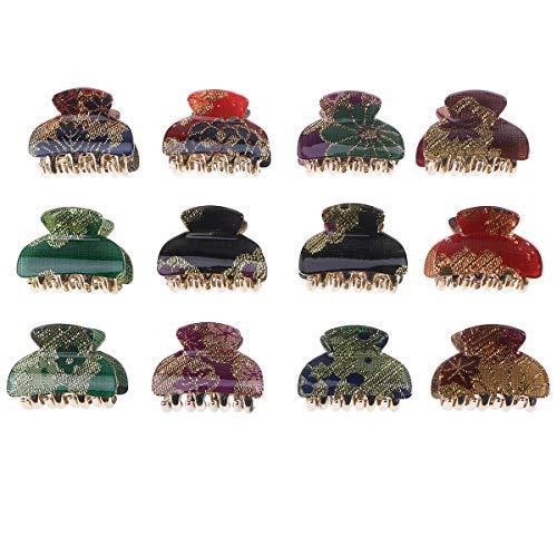 LURROSE 12PCS petite griffe de cheveux acrylique ligne dorée clips mini pinces à cheveux griffe de cheveux pour les filles dame