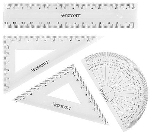 Westcott E-10303 00 Set matematica, 4 pezzi, plastica, trasparente, righello da 15 cm e goniometro