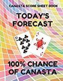 Canasta Score Sheet Book: Scorebook of 100 Score Sheet Pages For Canasta Games (Includes both American and Classic Rules), 8.5 By 11 Inches, Funny Forecast Colorful Cover