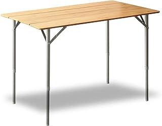 FIELDOOR バンブーテーブル 無段階高さ調節 コンパクト収納 収納バッグ付 キャンプ アウトドア バーベキュー