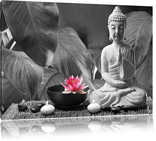 Buddha mit Seerose schwarz/weiß Format: 120x80 auf Leinwand, XXL riesige Bilder fertig gerahmt mit Keilrahmen, Kunstdruck auf Wandbild mit Rahmen, günstiger als Gemälde oder Ölbild, kein Poster oder Plakat