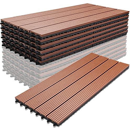 WPC Holz Kunststoff Fliesen 30x60 cm Terrassenfliesen Klickfliesen Balkonfliesen Wasserdicht,korrosionsbeständig und einfach zu installieren (6 Stück,braun)