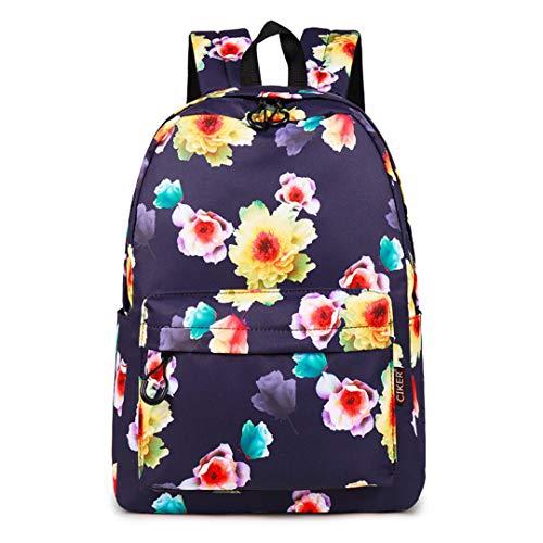 Mode-Wasser-beständiger Frauen-Rucksack-Blumen-Druck-weiblicher Schulrucksack Purple