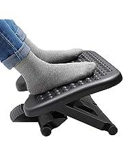 HUANUO Voetsteun met 3 verstelbare hoogtes en verstelbare hellingshoek, antislip voetkruk met massagefunctie past voor kantoor, thuis