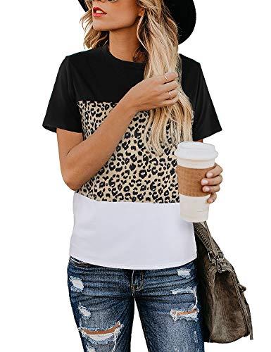 Blooming Jelly Damska bluzka z nadrukiem w panterkę urocza koszulka z okrągłym dekoltem z krótkim rękawem, na co dzień
