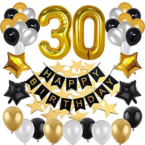 Geburtstag Dekoration Schwarzes Gold,gLuftballons Schwarz,Luftballons Gold,30 Mann und Frau geburtstag deko,.Geburtstagsdeko,Geburtstag Luftballons für Party Deko(30-gewöhnliche)