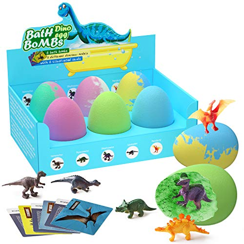 Bath Bombs Gift Set with Surprise Toys - Dinosaur in Each Fizzy, Perfect for Bubble & Spa Bath - with Learning Cards Handmade Birthday Easter Halloween Day Gifts idea for Kids, Girls & Boys