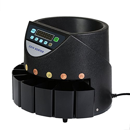 VEVOR 45W Contador de Monedas Euros 220V Clasificador Electrónico de Monedas Contar 500-1000 Moneda de 1 Centavo a 2 Euros con Pantalla LED Coin Counter