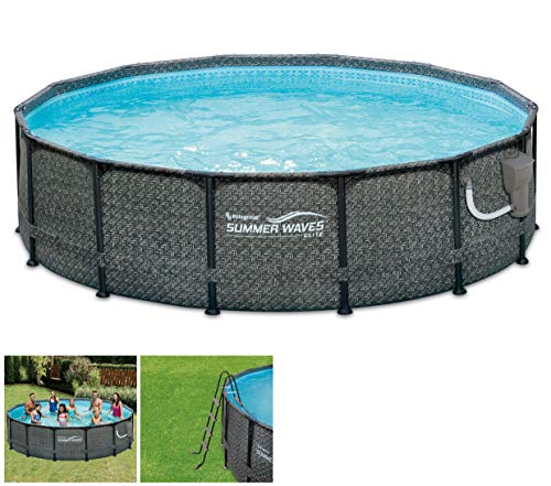 Summer Waves P2001448E14ft x 48in Outdoor Round Frame Above Ground Swimming Pool Set with Ladder,...