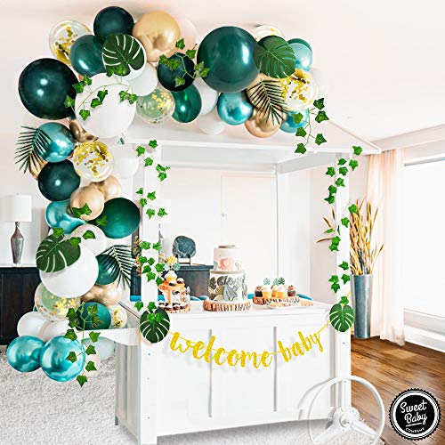 Sweet Baby Co. Jungle Theme Safari Baby Shower Decorations with Green Balloon Garland Arch Backdrop, Tropical Leaves Decoration, Ivy Vines, Banner Sign, Neutral Birthday Party Supplies for Boy or Girl