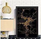 Bdwdhj Raumdekoration Poster,Izmir Türkei Schwarz & Gold
