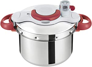 Tefal Clipso Minut Perfect Pressure Cooker, Silver/Red, 6 Litres