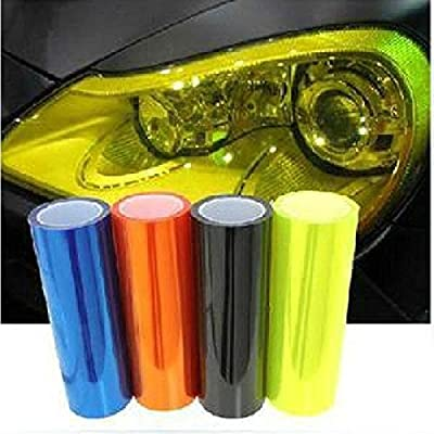 9 colors Fluoresent Yellow EASYTAR 12 by 40 inches Auto Car Sticker Smoke Fog Light HeadLight Taillight Tint Vinyl Film Sheet Car Decoration Decals