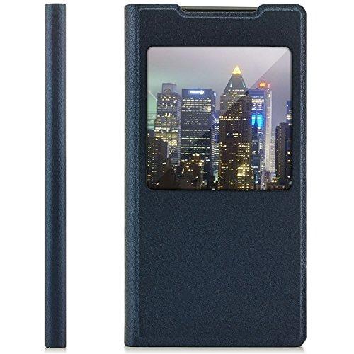 Preisvergleich Produktbild Saxonia Tasche kompatibel mit Sony Xperia XA Hülle Flip View Case Schutzhülle Cover mit Fenster und Kameraschutz Dunkelblau