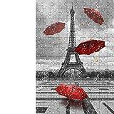 300 Piezas de Rompecabezas Divertidos Torre Blanco y Negro Paraguas Rojo Paris Street Adulto Rompecabezas de Madera Bar Cafe decoración Tela Pintura (ZYJ628)