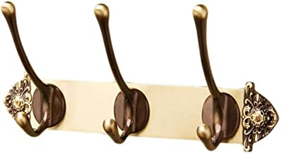 Wall Mounted Coat Rack Hooks European Creative Antique Copper Carved Coat Hanger Hook 3 Double Wall Hooks for Hat Towel En...