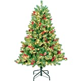 AMERZEST 4.5ft Pre-lit Artificial Christmas Tree,Flocked with Red Berries and Pine Cone and 300 Warm White Lights,Blue Spruce Xmas Tree