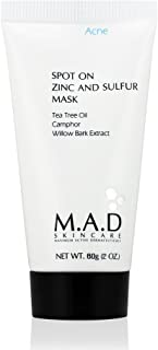 M.A.D Skincare Spot On Zinc And Sulfur Mask - For Acne Prone Skin 2 oz.