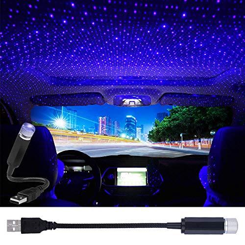 USB Star Projector Night Light, LEDCARE Car Roof Lights, Portable Adjustable Romantic Interior Car Lights, Portable USB Night Light Decorations for Car, Ceiling, Bedroom (Violet Blue)