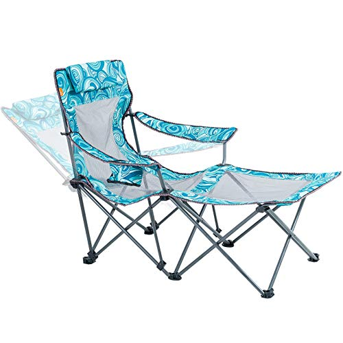 small size Portable Camping Chair with Folding Footrest for Adults Lounge Chair 300lbs Blue