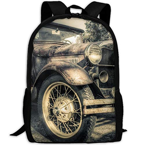 Gym Bags,Laptop Backpacks,Casual Shoulder Bag Bookbag,Satchel Backpack,Kids School Book Bags,Girls Boys Printed Daypack,Classic Old Vintage Car Toddler Backpack