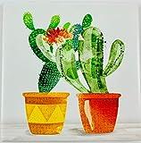 Cuadro de madera con marco blanco Shabby Chic con azulejo de cerámica en el centro decorado de color en relieve 100% fabricado en Italia Árbol de la vida Sagrada Familia Natura 20 x 20 cm (2 cactus)
