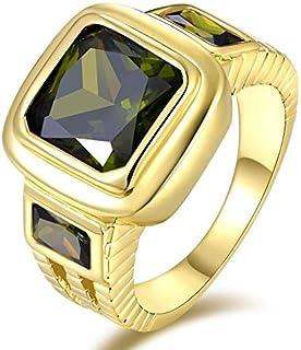 خاتم للرجال مطلي ذهب اصفر مرصع بحجر كريم توباز أخضر زيتوني (سوليتير S-Z) مقاسUS 9
