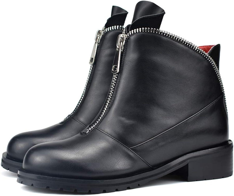 T -JULY Kvinnors Infront Zipper Ankle Ankle Ankle stövlar Autumn Winter Comfortable Low klackar Tjock Plush Varma Stövlar  märkeuttag