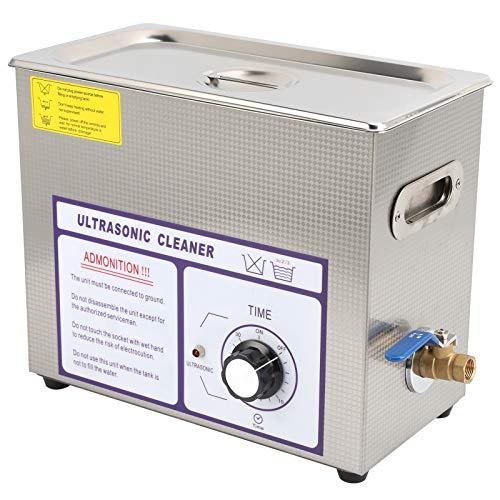 Wakects Limpiador ultrasónico de 6 litros, limpiador ultrasónico de acero inoxidable con temporizador digital, para limpiar joyas, gafas, monedas, relojes, herramientas domésticas, etc. (UE)