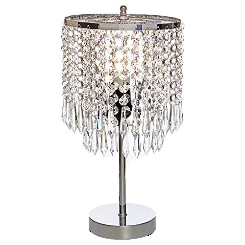 Popity home Elegant Decorative Chrome Living Room Bedside Crystal Table Lamp,Desk Lamp with Crystal Shade for Bedroom Living Room Coffee Table Bookcase