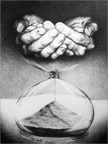 Posterlounge Leinwandbild 100 x 130 cm: Zeit/Sanduhr von EDrawings38 - fertiges Wandbild, Bild auf Keilrahmen, Fertigbild auf echter Leinwand, Leinwanddruck