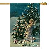 AVOIN A Joyful Christmas Garden Flag Vertikale Doppelgröße, Winterurlaub, religiöse Bauernhof-Fahne, Gartendekoration, 31,8 x 45,7 cm House Size-28 x 40 blau
