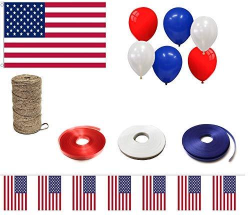 INERRA Vlag Event Pack - Inclusief grote vlag, gemengde ballonnen, krullint, 10ft Bunting en String USA