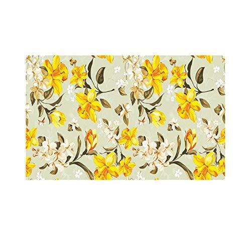 CHENCHAOK Alfombra 3D Alfombra de Flores Amarillas Manta de Mesa de Sala de Estar Alfombra Antideslizante Alfombra de Dormitorio Habitación de niña Alfombra Decoración