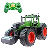 Fistone RC Truck Farm Tractor 2.4G 1/16 High Simulation Scale Construction Vehicle Remote Control Toy with Lights and Sounds Kids Toy Hobby Model