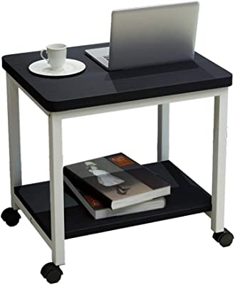 PingFanMi Simple Modern Small Square Table, Sofa Bed Corner Movable Bedside Table, Small Desk with Wheels, Black