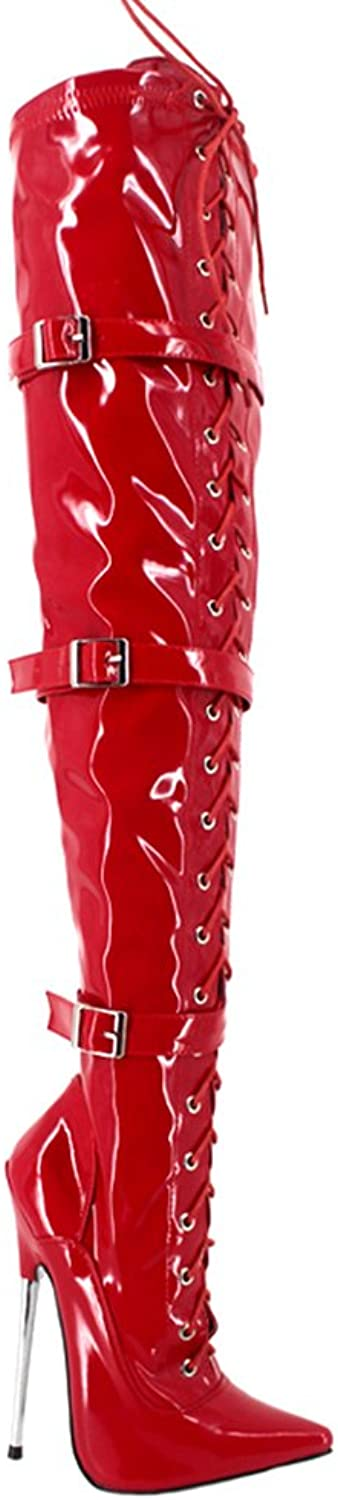 BitterMoonHeel APPR.7 Metal Heel Pointed Toe red Shiny lace up Thigh high Boots with Buckles