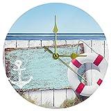Yoliveya Reloj de pared redondo de madera silenciosa para la playa, decorativo, no hace tictac, silencioso, para regalo,...