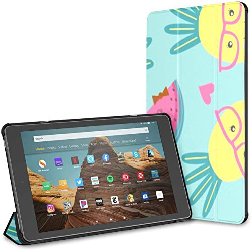 Case for All-New Amazon Fire Hd 10 Tablet (7th and 9th Generation,2017/2019 Release),Slim Folding Stand Cover with Auto Wake/Sleep for 10.1 Inch Tablet, Seamless Pattern Cute Pine Watermelon