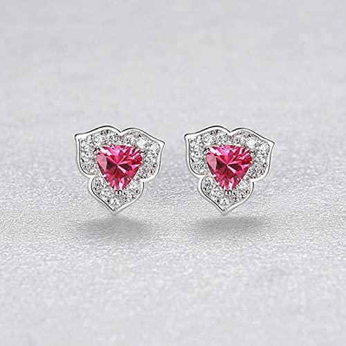 SALAN Pendientes De Botón para Mujer Flores Románticas Triángulo Gema Roja Plata De Ley 925 Joyería Fina Citas