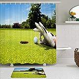 Juego de cortinas y tapetes de ducha de tela,Deporte Tema Campo de golf al aire libre Jugador divertido Bola en el agu,cortinas de baño repelentes al agua con 12 ganchos, alfombras antideslizantes
