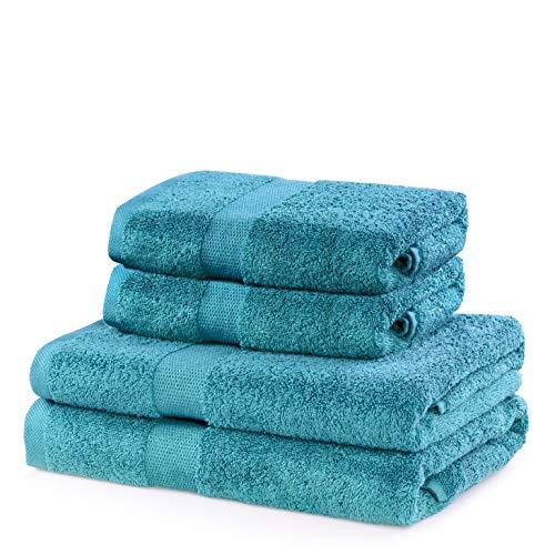 DecoKing Juego de 4 toallas de mano de algodón de calidad 525 g/m², 2 toallas de mano de 50 x 100...