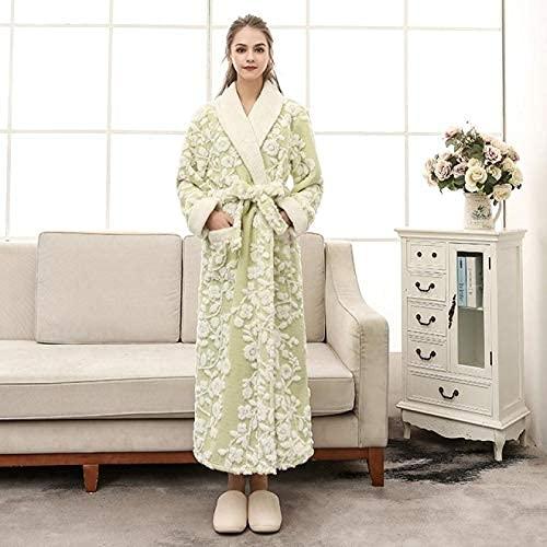 JJYY Bata de Franela cálida para Amantes, Vestido de Kimono Unisex, Ropa de Dormir para Dama y Hombre, Ropa de Dormir Informal, Suave, Flor, Bata de casa