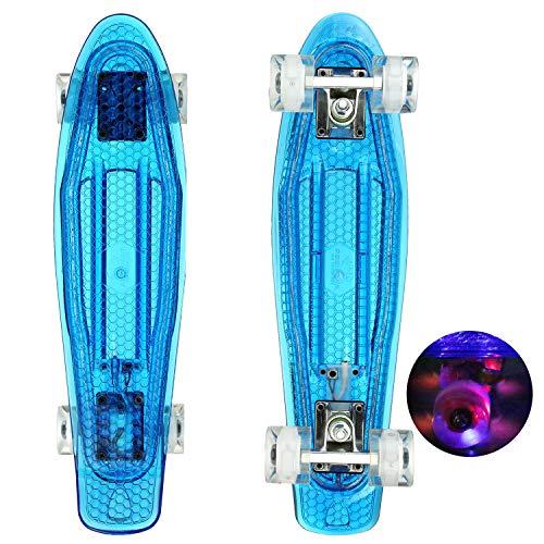 WeSkate Mini Cruiser Skateboard Komplette 22 zoll/55cm mit LED Rädern für Kinder Mädchen und Jungen Erwachsene Anfänger