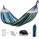 HappyGo Camping Hammock Cotton Canvas Beach Swing Bed with Spreader Bar for Backyard