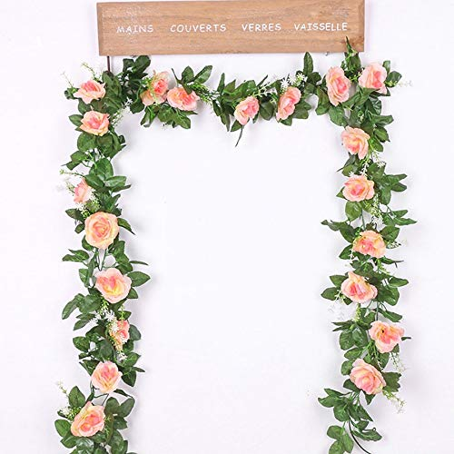 Mistari Silk Artificial Rose Vine Hanging Flowers for Wall Decoration Rattan Fake Plants Leaves Garland Romantic Wedding Home Decoration- Fake Succulents- Plant Wall Decor-Champagne