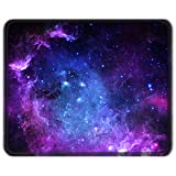 Auhoahsil Mouse Pad with Stitched Edge, Premium-Textured Mouse Mat Waterproof Non-Slip Rubber Base Customized Rectangle Mousepad for Laptop Computer PC Gaming Office 11.8 x 9.85 in, Mysterious Galaxy