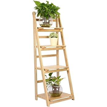 EBTOOLS Estantería Escalera de Madera Maciza de 4 Niveles, Estante de Almacenamiento para Libros Soporte de Planta Maceta Flores para el Hogar Oficina, 42 x 34.8 x 112.6cm(Burlywood): Amazon.es: Hogar