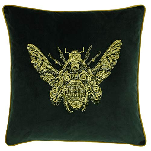 Riva Paoletti Cerana Cushion Cover - Emerald Green - Super Soft Velvet Fabric - Embroidered Gold Bee Design - Gold Piped Edges - 100% Polyester - 50 x 50cm (20' x 20' inches)
